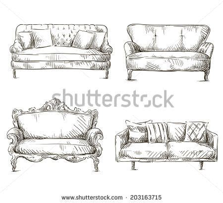 Sofa Sketch Search Drawing by Sofa Drawing Set Of Sofas Drawings Sketch Style Vector