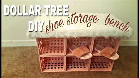 dollar store shoe organizer dollar tree diy shoe storage faux fur bench youtube