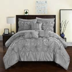 new twin queen king bed silver rosette ruffled 10 pc