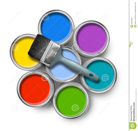 color paint cans with brush royalty free stock photos image 20315088