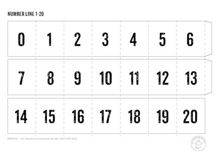 template of 0 10 cards printable number line mr printables