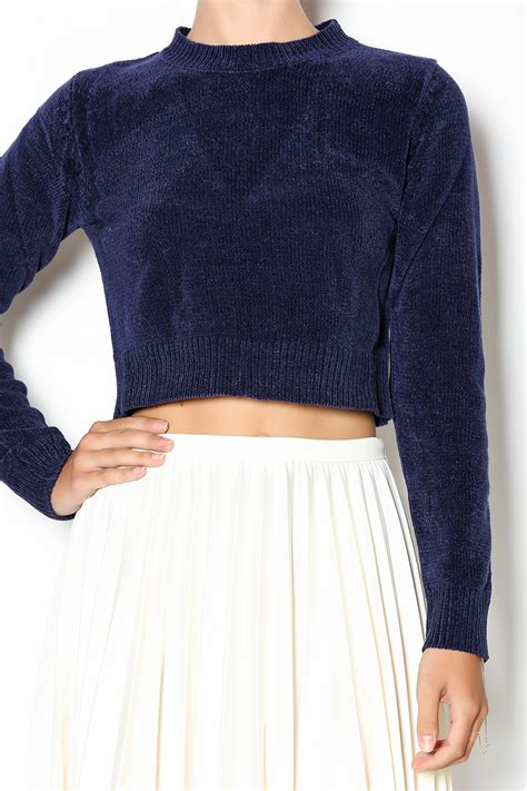cropped sweater babel fair navy cropped sweater from williamsburg by babel
