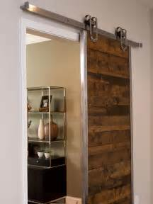 How To Make Interior Sliding Barn Doors Outstanding Reclaimed Wooden Single Sliding Barn Doors For Homes With Open Cabinetry Shelves As