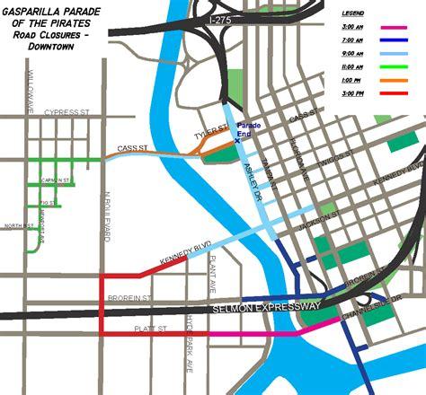 road closures map gasparilla 2017 closures schedule maps wusf news