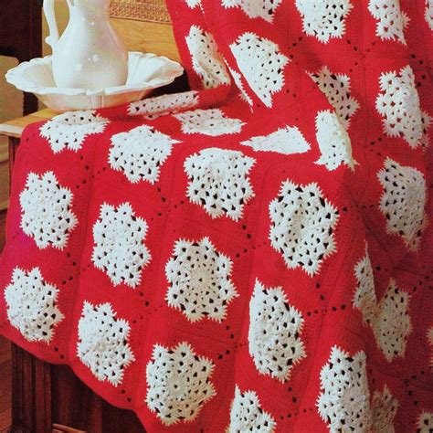 snowflake pattern crochet afghan instant download pdf vintage crochet pattern for christmas