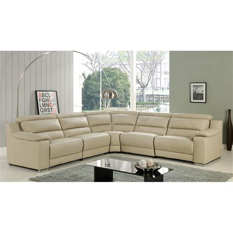 elda italian leather reclining sectional sofa beige at