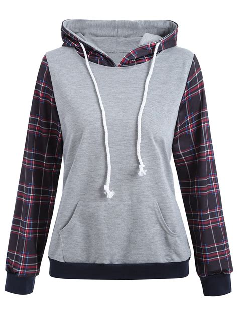 Hooded Plaid Sweatshirt gray l hooded drawstring plaid panel hoodie rosegal