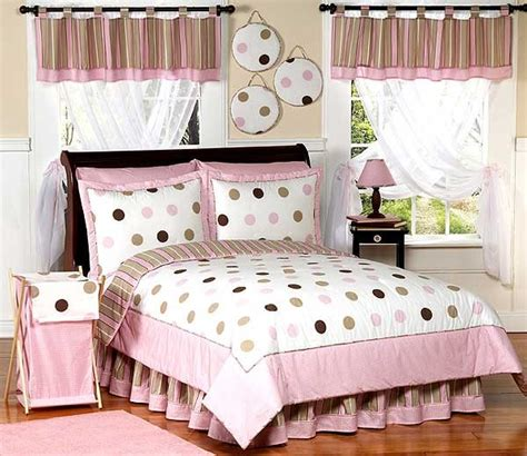 Pink And Brown Mod Dots Bedding Set 4 Piece Twin Size By Pink And Brown Bedding
