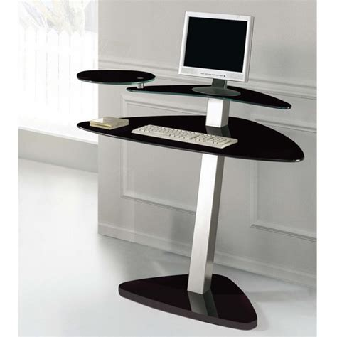 Small Black Glass Computer Desk Black Glass Computer Desks For Home