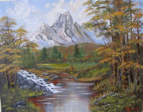 mountain landscape painting by perry