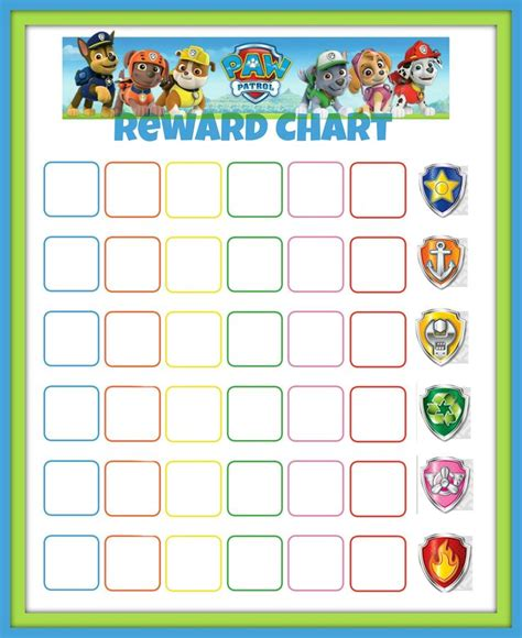 printable incentive reward charts paw patrol print out story google search paw patrol