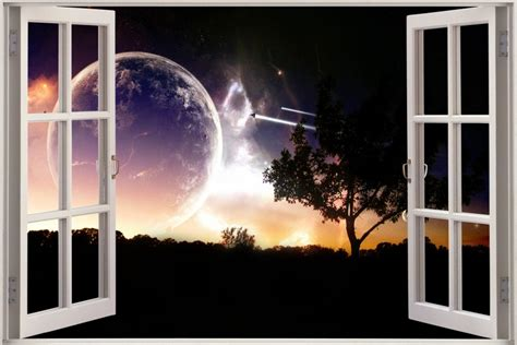 space wall mural uk 3d window view universe space voyage wall sticker decal wallpaper mural