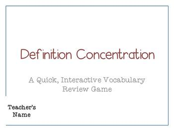 Concentration Card Template by Concentration Memory Template By Mr Teecher Tpt