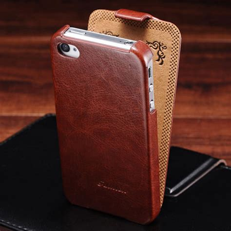 Flipcover Iphone 44g4s deluxe retro flip pu leather for iphone 4 4s luxury phone back cover with fashion logo