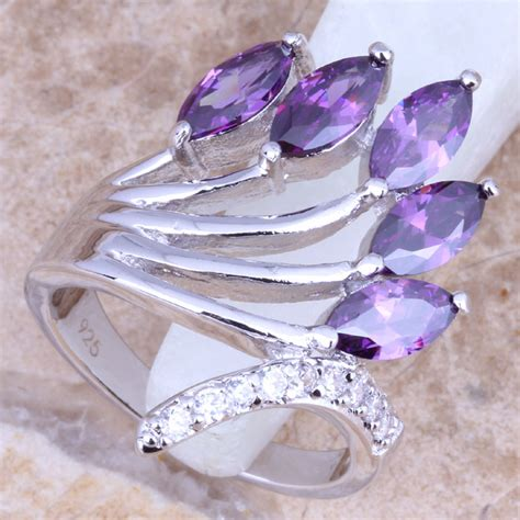 shining purple cubic zirconia white cz silver sted 925