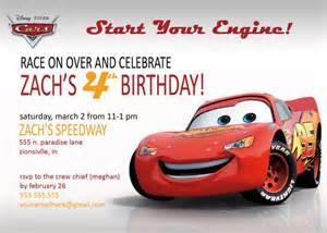 disney cars lightening mcqueen or mater invitation