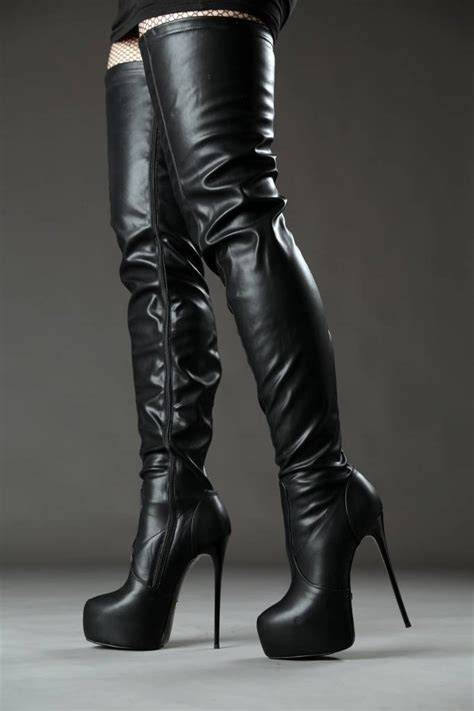 black giaro high 16cm heeled thigh boots shoebidoo shoes