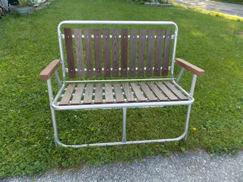 Vintage Patio Chairs Vintage Folding Slat Cedar Wood Redwood Aluminum Patio Lawn Chair Bench Retro Chair Bench