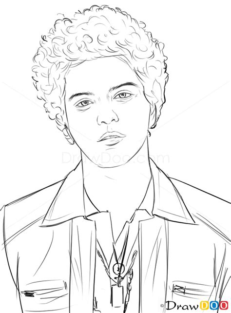 How to Draw Bruno Mars, Famous Singers - How to Draw
