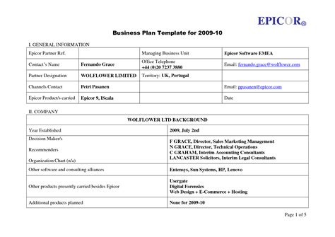 template of a business business plan template uk free free business template