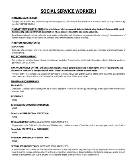 sle social worker description 9 exles in pdf