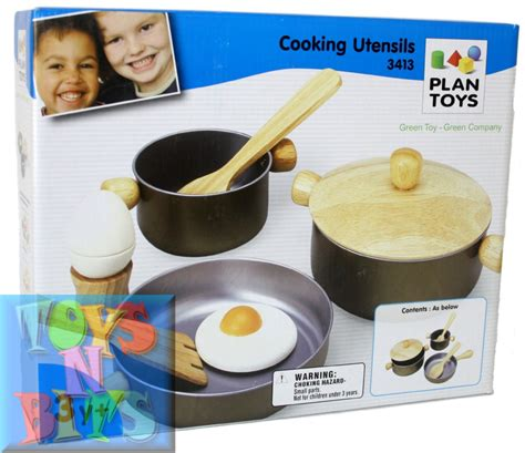 Plan Toys Kitchen Set by Plan Toys Cooking Utensils Play Set 3413 Wooden For