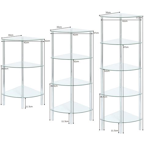 Corner Glass Shelf Unit by Glass Corner Shelf Unit Display Bathroom End L
