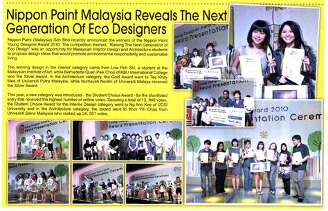The Hunt For The Next New Generation Designers Begins Again by Nippon Paint Malaysia Reveals Next Generation Of Eco