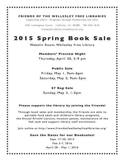 Swellesley Report by Wellesley Free Library Book Sale April 30 May 3 The Swellesley Report News About