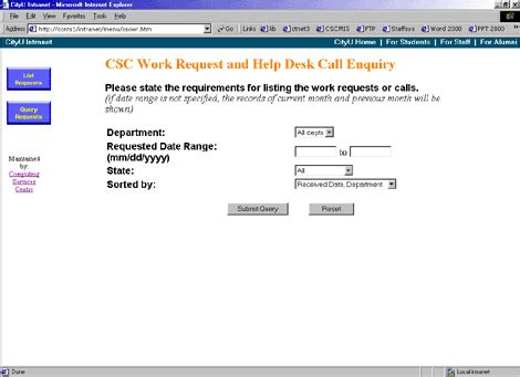 csc help desk on line of csc work request