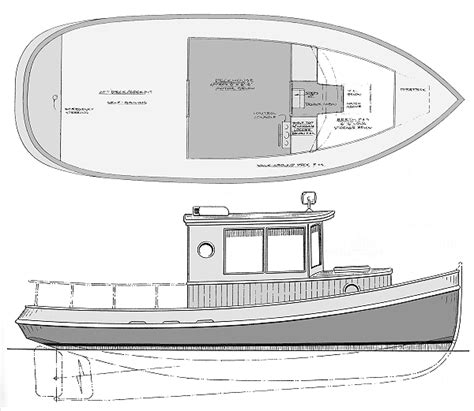 wooden tugboat plans 25 to 28 foot plywood quot trawler quot quot tug quot design