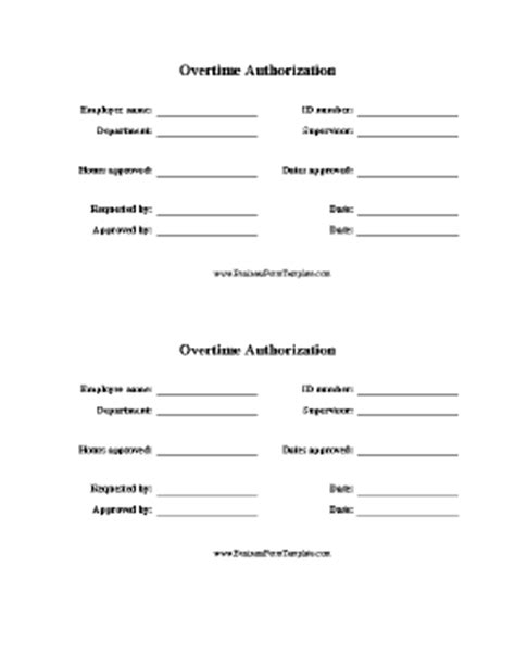 employment authorization form exle overtime authorization form template