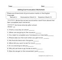 adding end punctuation worksheet englishlinx com board