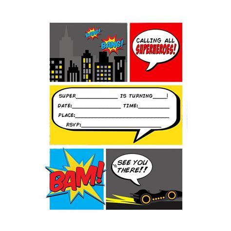 superhero birthday invitations templates free inspirational