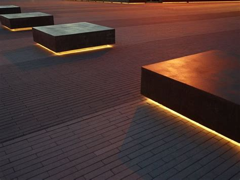 led under bench lighting conceptlandscape geometric outdoor seating elements