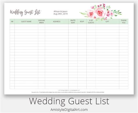 wedding guest list manager reviews stylish printables watercolor clipart wedding stationery
