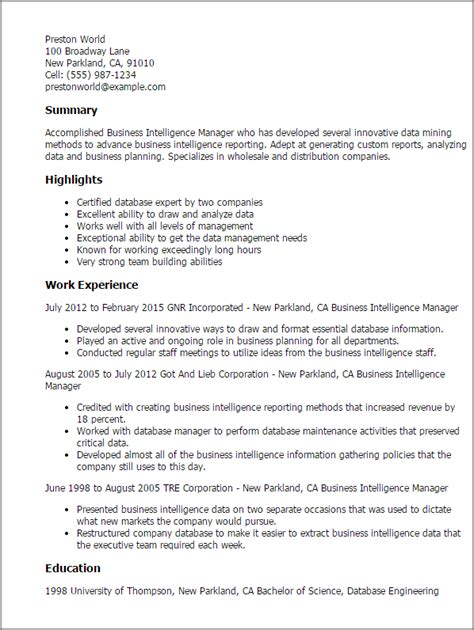 Sle Resume For Business Intelligence Project Manager Professional Business Intelligence Manager Templates To Showcase Your Talent Myperfectresume