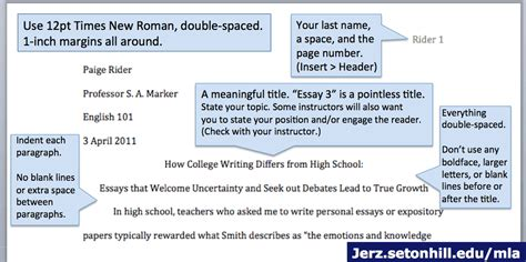 how to layout your essay mla style paper layout of first page jerz s literacy weblog