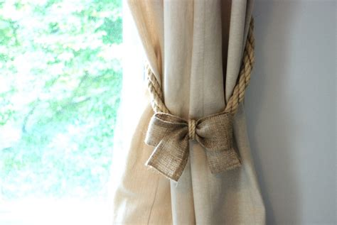 hemp rope and burlap bow curtain tiebacks nautical ties