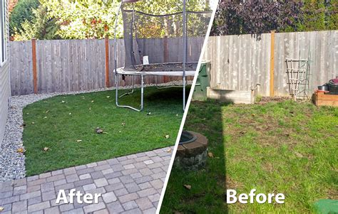 Backyard Before And After Pictures by Backyard Transformation In Tumwater Ajb Landscaping Fence