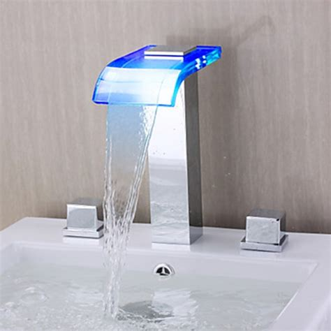 led bathtub faucet contemporary waterfall wall mounted chrome finish led