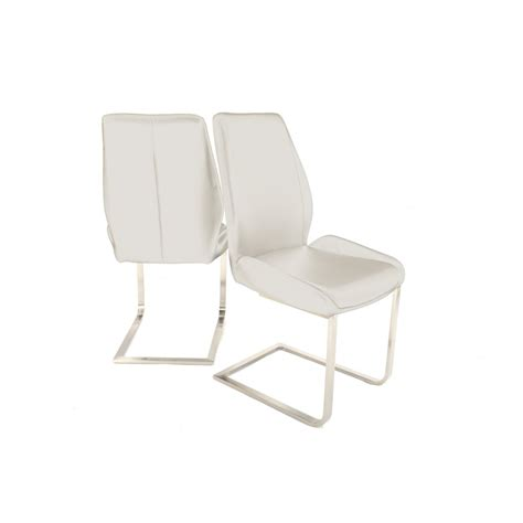 Designer Leather Dining Chairs Fairmont Furniture Marino White Designer Faux Leather Dining Chair Pair Fairmont Furniture