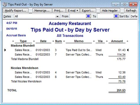 Quickbooks For Restaurants Accountex Report Restaurant Tip Out Sheet Template
