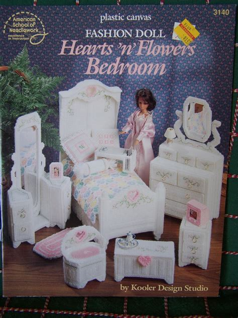 Vanity Stand Mirror New Plastic Canvas Patterns Barbie Doll Hearts N Flowers