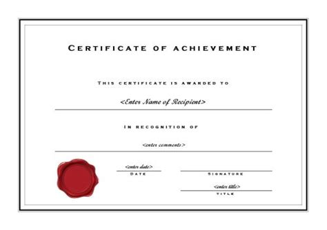 microsoft word template certificate certificate of achievement 002