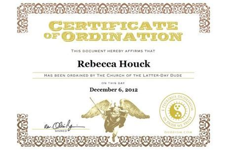 Dudeism Ordination Certificate   Beliefs and symbols