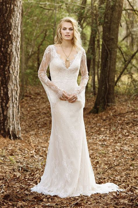 Wst 18768 Embroidered Bell Sleeve style 6463 v neck allover lace gown with bell sleeves