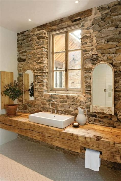 badezimmer ideen steinwand badezimmer holz waschbecken steinwand rustikale