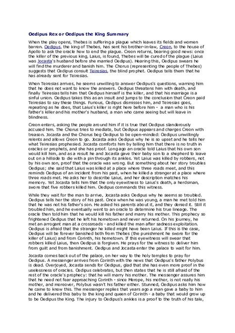 (DOC) Oedipus Rex or Oedipus the King Summary   OFF GOD