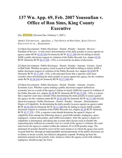 King County Wa Court Records 09 01 15 Yousouifian Vs King County Sims In Washington Supreme Co